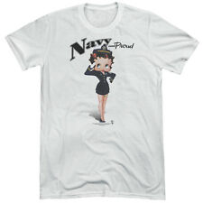 Betty Boop Navy Betty Boop Mens Tri-Blend Short Sleeve Shirt WHITE