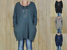 Lagenlook Plus Size Casual Tunic Top 14 16 18 20 22 24 26 28 30 Womens New 8770
