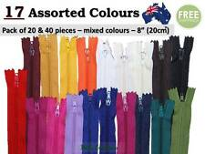 """Nylon Assorted Colour Pack of 20 & 40 Zippers, Zip 8"""", Close End, Apparel, No.3"""
