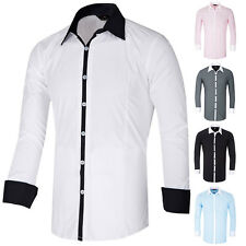 New Mens Slim Fit Long Sleeve Shirt White Collar Shirts Casual Tops Size S~XL