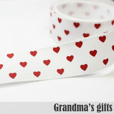 """7/8""""22mm Valentine's day Red Heart Grosgrain Ribbon 5/50/100 Yards Wholesale"""