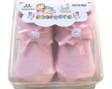Infant Baby Socks 0-6 mo In Clear Box Boy Girl Pink Green Blue Yellow NEW