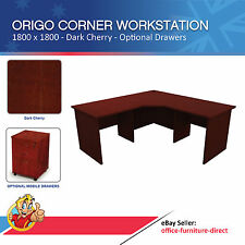 Corner Workstation Office Desk, Computer Study Desks, Dark Cherry 1800 x 1800