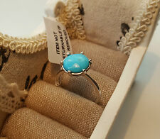 3.0ct Arizona Kingman Turquoise Solitaire Ring Platinum/14k gold over S/Silver