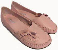 WOMENS BABY PINK ROUND TOE FLAT SLIP ON DOLLY BALLERINA SHOES BOW MOCCASINS 3-7