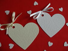 50 HEART  PLACECARDS/GIFT /WISHING TREE/ FAVOUR TAGS WITH OR WITHOUT RIBBON