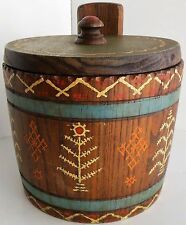 Vintage Round Wooden Hand Painted Tobacco Humidor Snuff Box Wood Trinket Jar