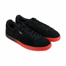 Puma Suede Emboss Iced Fade Mens Black Red Suede Lace Up Sneakers Shoes