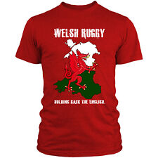 Welsh Rugby T Shirt Funny English Print Men 6 Nations Flag Wales Top Dragon L7