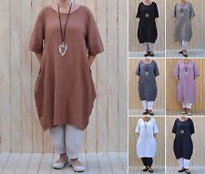 Ladies Lagenlook Quirky Linen Casual Tunic Top Dress 14 16 18 20 22 24 26 W47