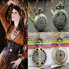 Antique Vintage Bronze Steampunk Chain Quartz Pendant Pocket Watch Necklace FT