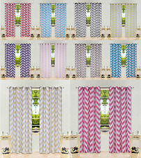 "CHEVRON PRINTED PANELS VOILE SHEER GROMMET WINDOW CURTAIN 2PC X 55"" X 95"" #C37"