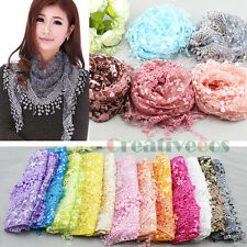 Floral Scarf Summer Scarf Lace Tassel Mantilla Triangle Scarf Ladies Wrap Shawl