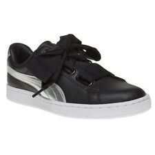 New Womens Puma Black Basket Heart Explosive Suede Trainers Court Lace Up