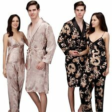 Men Women Silk Satin Pajamas Kimono Bath Robe Dressing Gown Loungewear Sleepwear