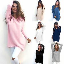 Fashion Womens V-Neck Pullover Knitted Baggy Sweater Jumper Tops Dress Oversized
