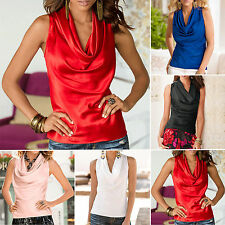 New Women Summer Casual Sleeveless Cowl Neck Vest Blouse Party Tank Tops T-Shirt