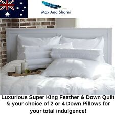 Luxury Duck Feather Down Quilt Doona 350GSM Super King Size 2 or 4 Pillow Set