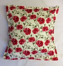 "Modern Pink Red & Green Floral Fabric Cushion Cover 16"" made in the uk"