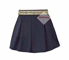 Womens Navy Blue Embroidered Short Skirts Pleated Skater Skirt