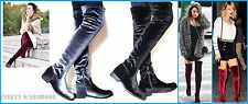 WOMENS FLAT OVER THE KNEE BOOTS VELVET SEXY THIGH HIGH SHOES LADIES STRETCH BOOT