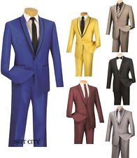 Men's Suit Single Breasted One Button 2 Piece Slim Fit Shark Skin Trimmed SSH-1