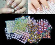 10/50Sheet Nail Art Transfer Stickers 3D Design Manicure Tip Decal Decoration MS