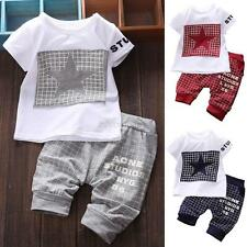 Infant Kids Boys Girls Short Sleeve Pentacle Print T-Shirt Plaid Pants Outfit
