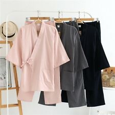 Couples Kimono Solid Color Cotton Short Sleeve Pajamas Sleepwear Home Wear Soft