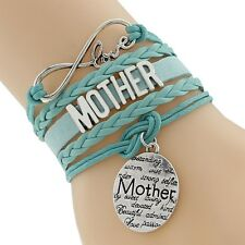 Green Layered & Braided Cord Craft Infinity Bracelet Mother Inspiration Words US