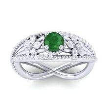Green Emerald GH SI Diamonds Flower Gemstone Engagement Ring 10K White Gold