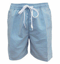 Soul Star Men's Splendor Striped Swim Beach Shorts Blue / White