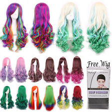 Women Fashion Lady Anime Long Curly Wavy Straight Hair Party Cosplay Full Wig