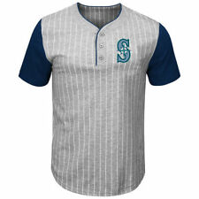 Seattle Mariners Majestic Life Or Death Pinstripe Henley T-Shirt - MLB