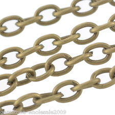 Wholesale W09 Lots Bronze Tone Cable Chains Bracelet Necklace DIY 3x4mm