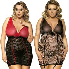 Plus Size Women Babydoll Dress Lingerie Lace Sleepwear Nightwear G-string Garter