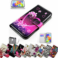 Stand PU Feature Leather Wallet Cover Flip Cases Skin For Samsung Galaxy Phone