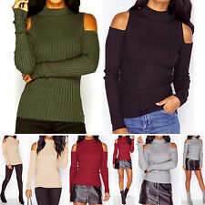 Womens Long Sleeve Cut Out Shoulder Knitted Sweater Pullover Jumper Top Knitwear
