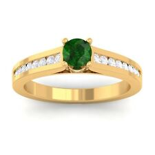 Green Emerald IJ SI Round Diamond Women Gemstone Wedding Ring 10K Yellow Gold