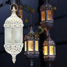 Decorative Candle Style Glass Lantern Holder Metal Hanging Moroccan Candlestick