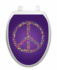 Toilet Tattoos Purple Peace Lid Cover  Decor  Reusable Vinyl