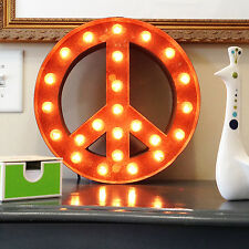 Vintage Marquee Lights Peace Sign Wall Decor