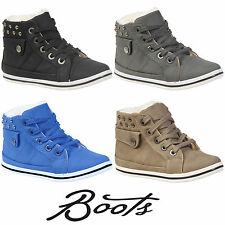 KIDS GIRLS BOYS CHILDREN FAUX FUR WINTER WARM LACE UP ANKLE BOOTS TRAINERS SHOES