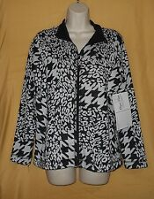 Onque Petite women's black white zip ls stretch jacket coat collar top PM $68