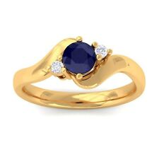 Blue Sapphire GH VS Natural Round Diamond Gemstone Ring Women 14K Yellow Gold