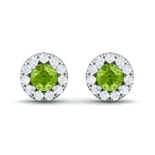 Green Peridot GH VS Diamond Gemstone Womens Halo Stud Earring 14K White Gold