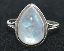Sterling SILVER Rainbow Moonstone Ring Genuine Gemstone 925 Jewellery, All Sizes