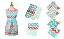9 Piece Apron Set - Patterned Themes - Apron, Tea Towels, Hot Pads & Oven Mitts