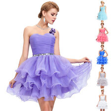 Formal Cocktail Dress Evening Party Gown Puffy Bridesmaid Prom Tiered Mini Dress