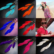 1 Pair Fashion Tassel Feather Drop Dangle Hook Long Earrings Women Ear Accessory